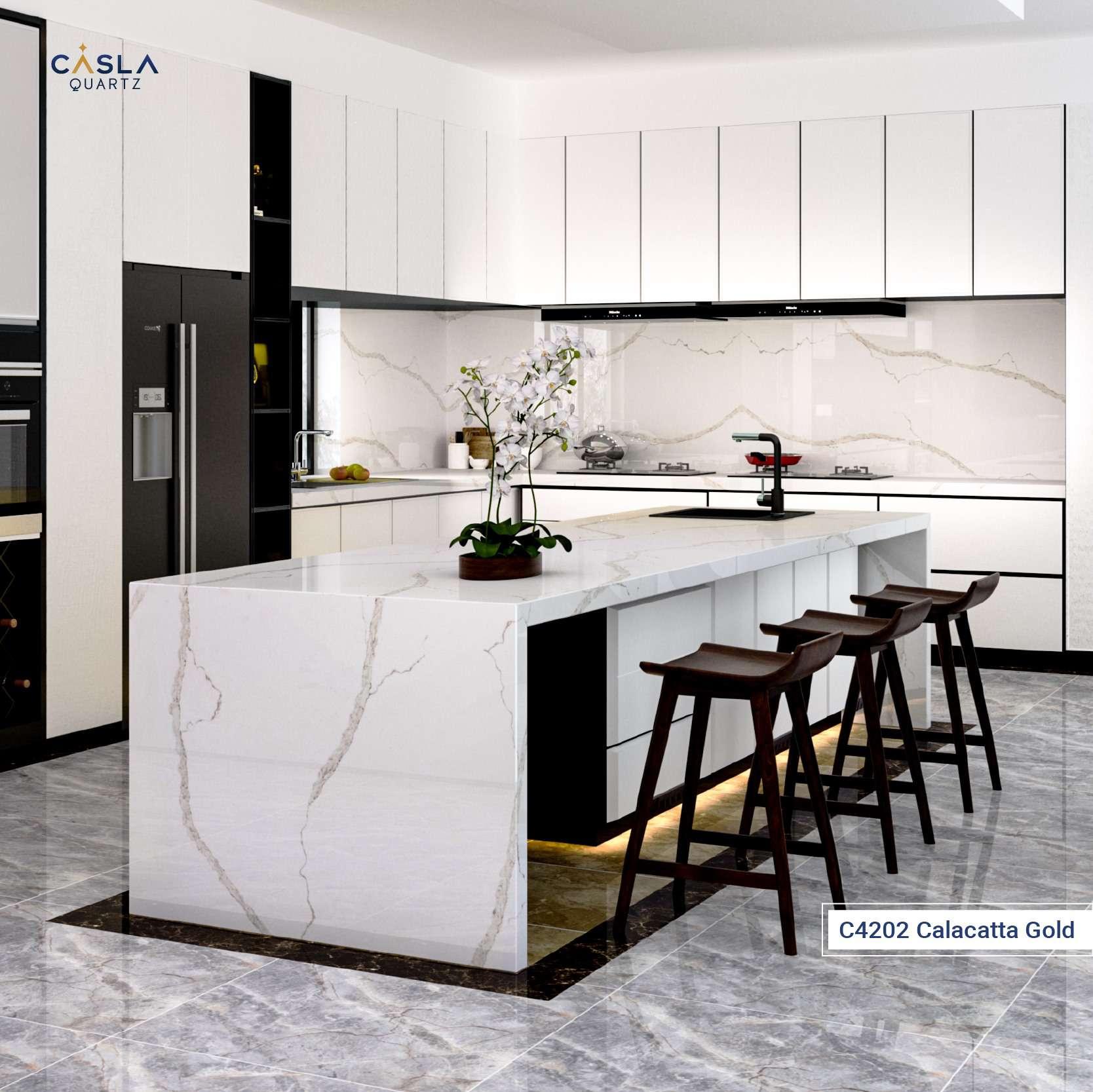 Top 5 mẫu bàn bếp thạch anh nhân tạo Caslaquartz thời thượng:mẫu đá C4202 Calacatta Gold