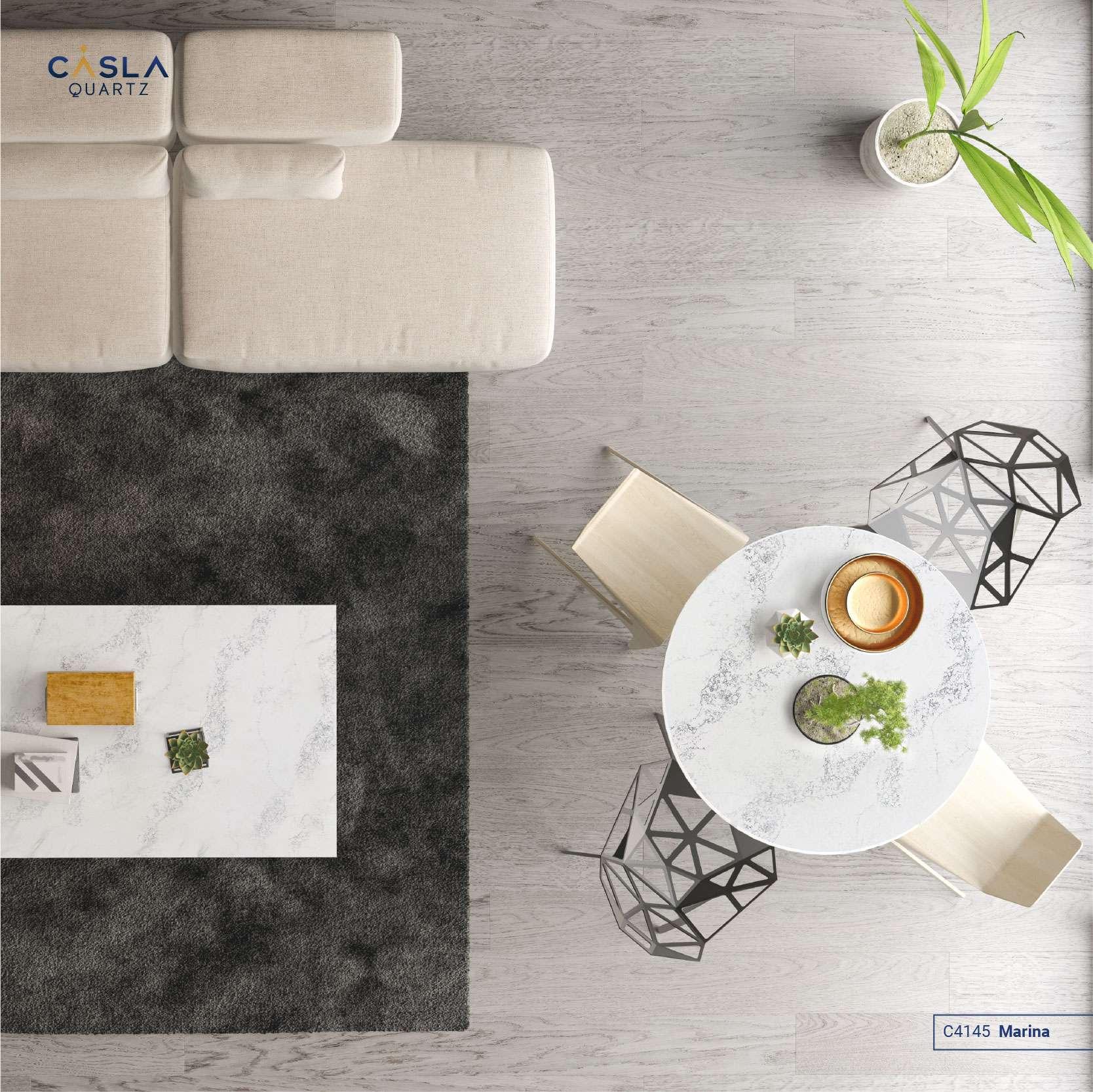 Mặt đá trắng cùng đường vân tinh tế, nhẹ nhàng như dòng sông băng của mẫu đá Marina tạo nên sự trang nhã cho không gian phòng khách.