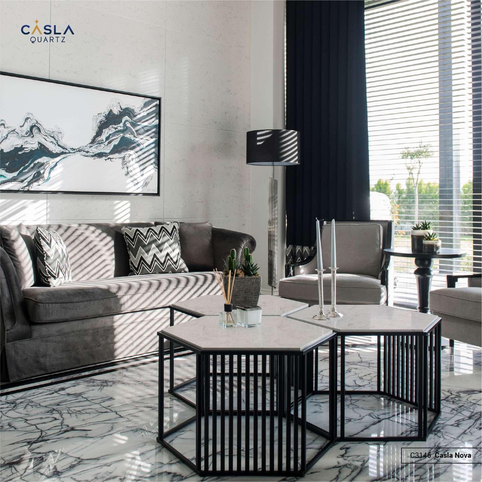 Mặt bàn thiết kế theo hình lục giác, kiểu dáng hiện đại và cá tính.