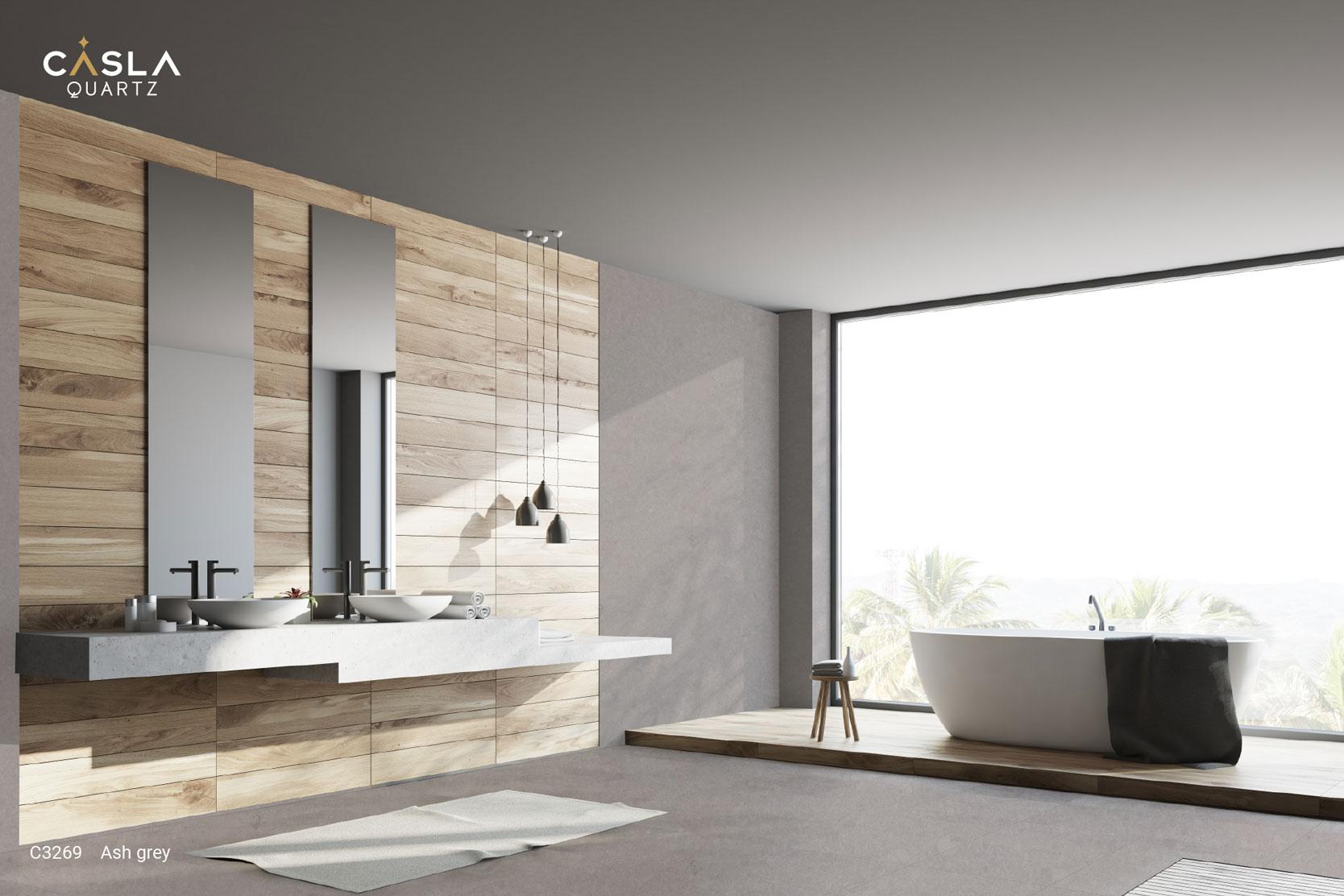 Đá thạch anh nhân tạo Ash Grey ốp tường nhà vệ sinh, phòng tắm rất trang nhã