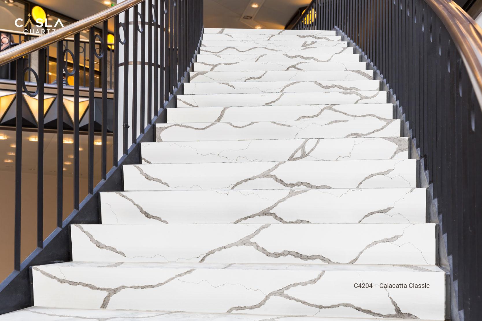 Top 5 mẫu đá ốp cầu thang đẹp từ thương hiệu đá cao cấp Caslaquartz
