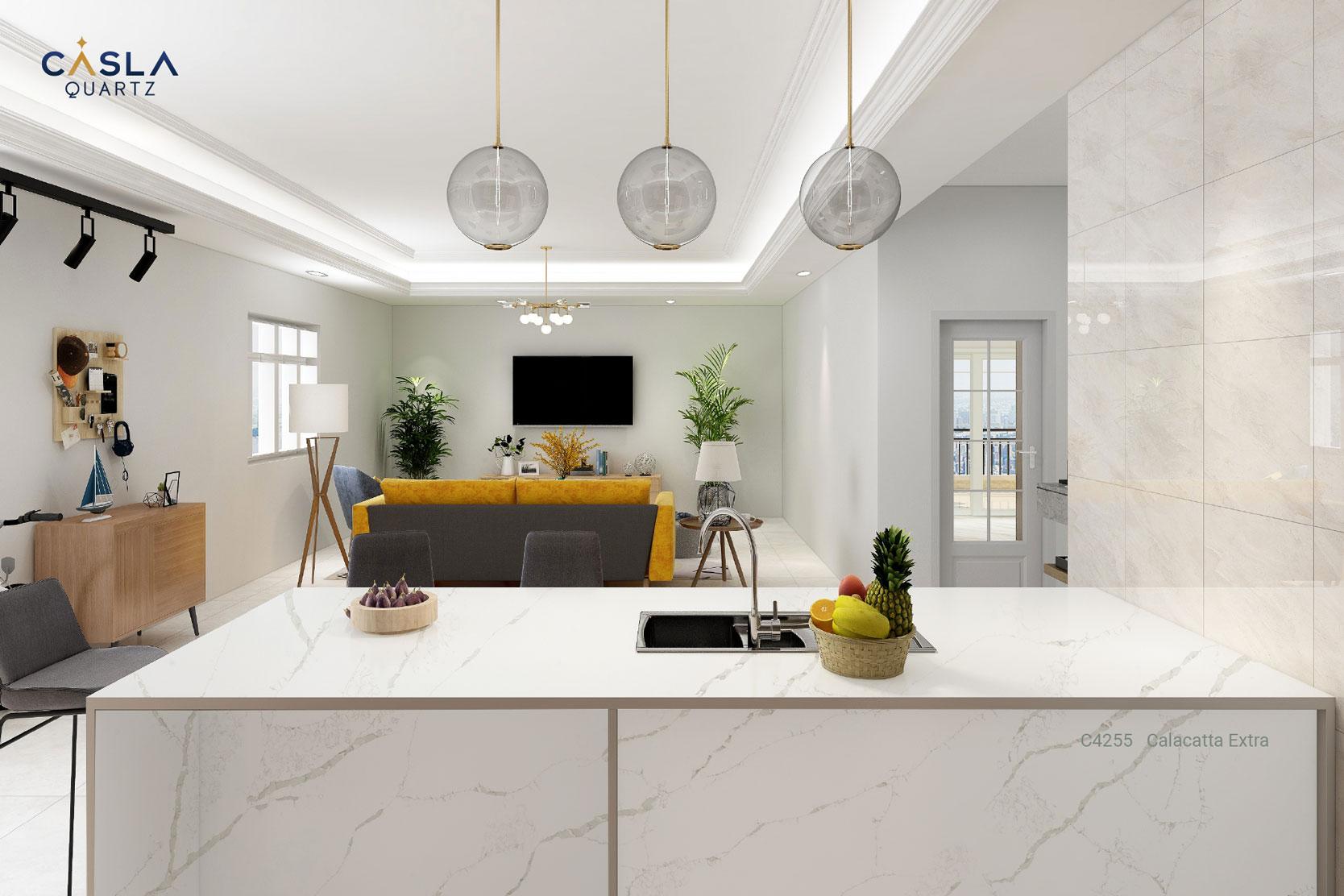 Đá thạch anh nhân tạo cao cấp Calacatta Extra sử dụng ở nhà bếp với bàn bếp, bar, đảo bếp là rất an toàn và sang trọng