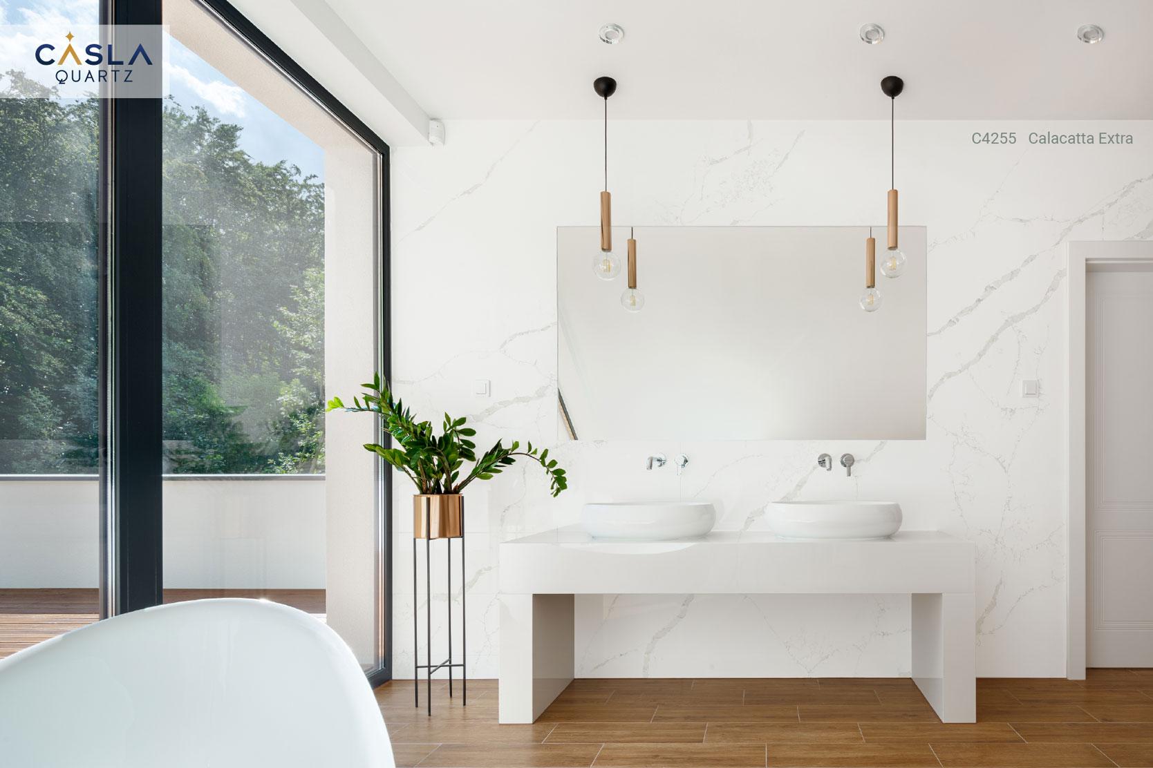 Đá thạch anh nhân tạo Calacatta Extra ở phòng tắm, nhà vệ sinh cao cấp