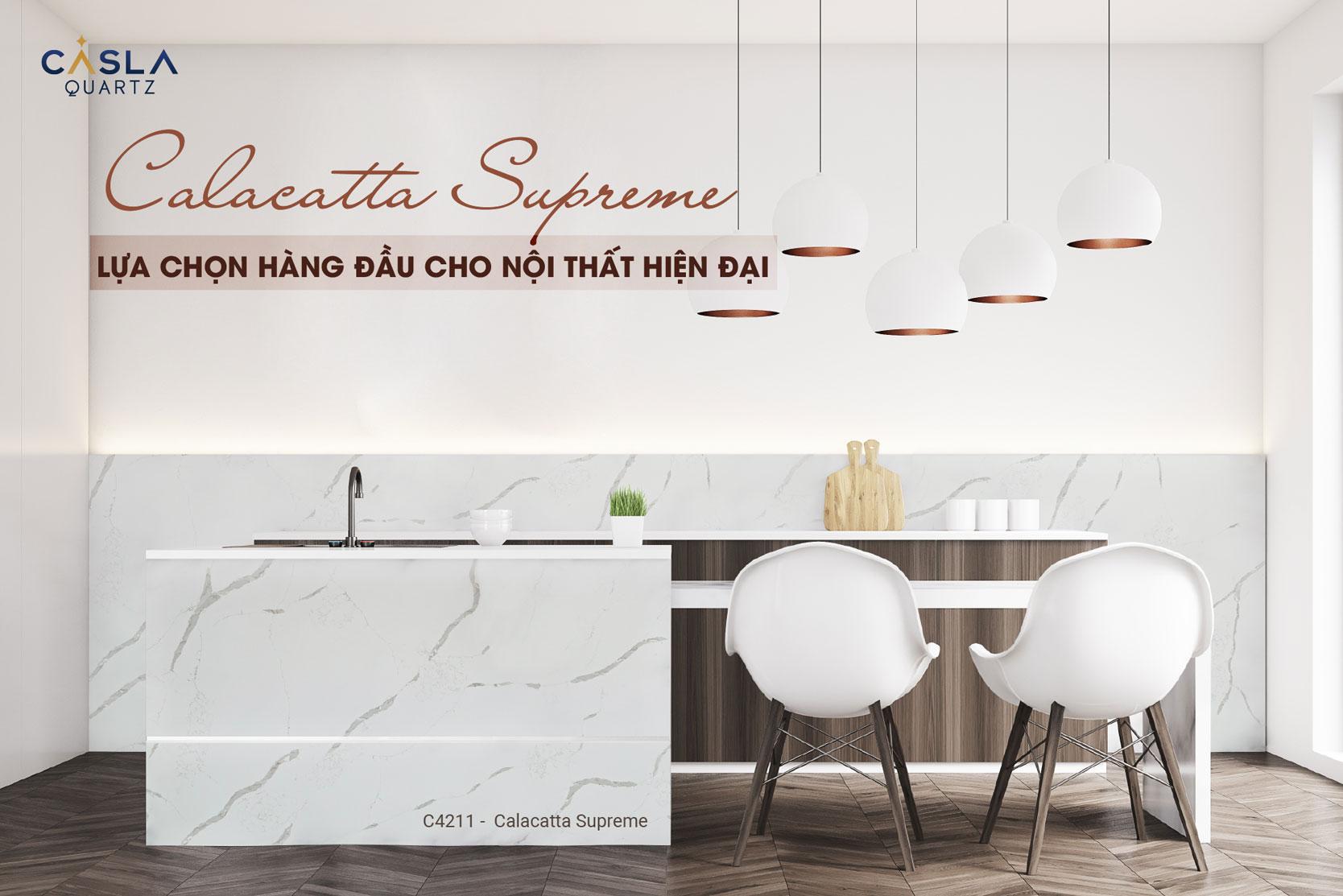 Đá thạch anh nhân tạo Calacatta Supreme lựa chọn hàng đầu cho nội thất hiện đại