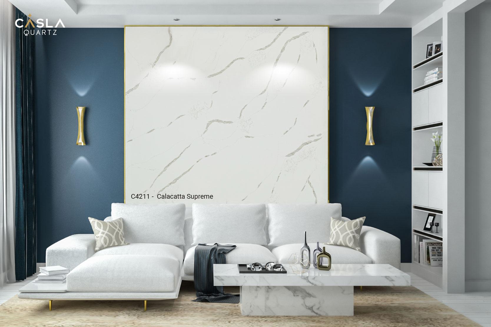 5 mẫu đá nhân tạo Caslaquartz ốp tường phòng khách đẹp nhất