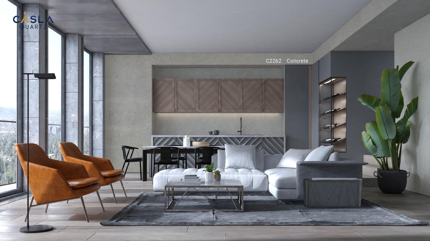 Đá thạch anh nhân tạo Concrete ốp tường phòng khách