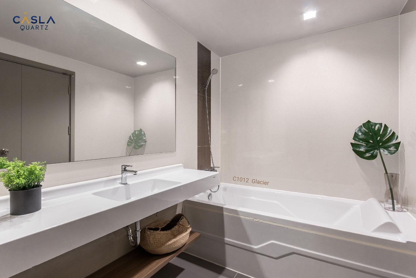 Đá thạch anh nhân tạo Glacier ốp tường phòng tắm, nhà vệ sinh cao cấp