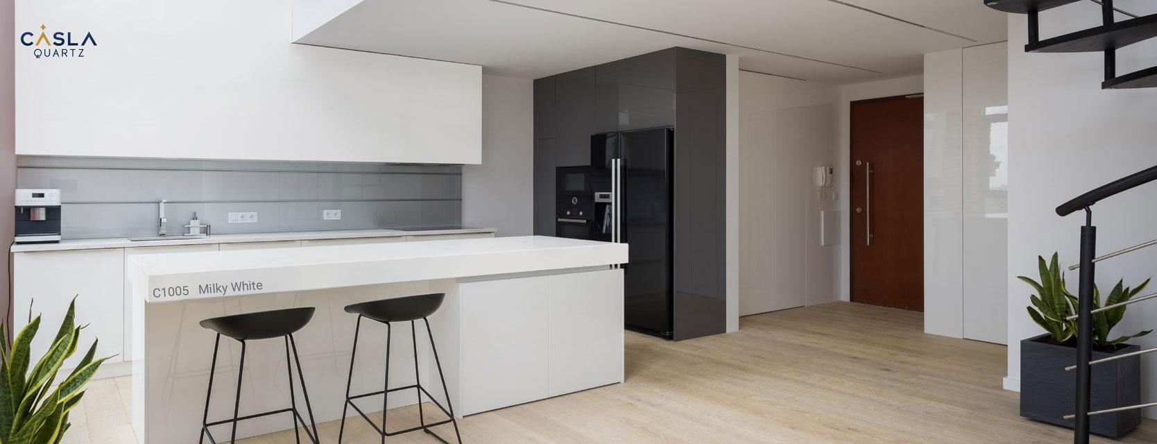 Ứng dụng đá nhân tạo giúp tạo điểm nhấn phong cách nội thất tối giản Minimalism