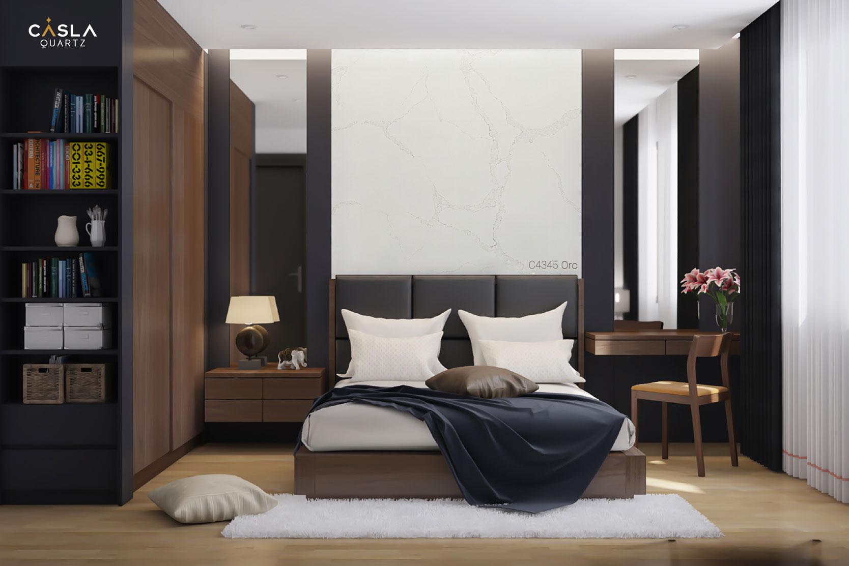 Đá thạch anh nhân tạo Oro ốp tường phòng ngủ