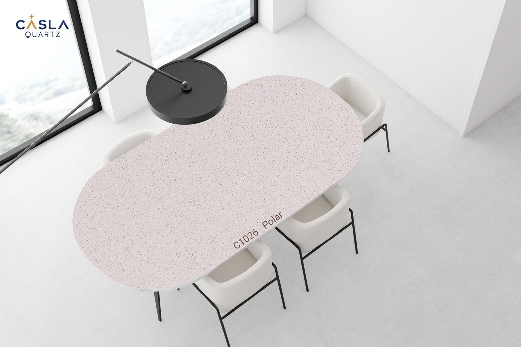 Đá nhân tạo gốc thạch anh Polar ứng dụng làm mặt bàn ăn