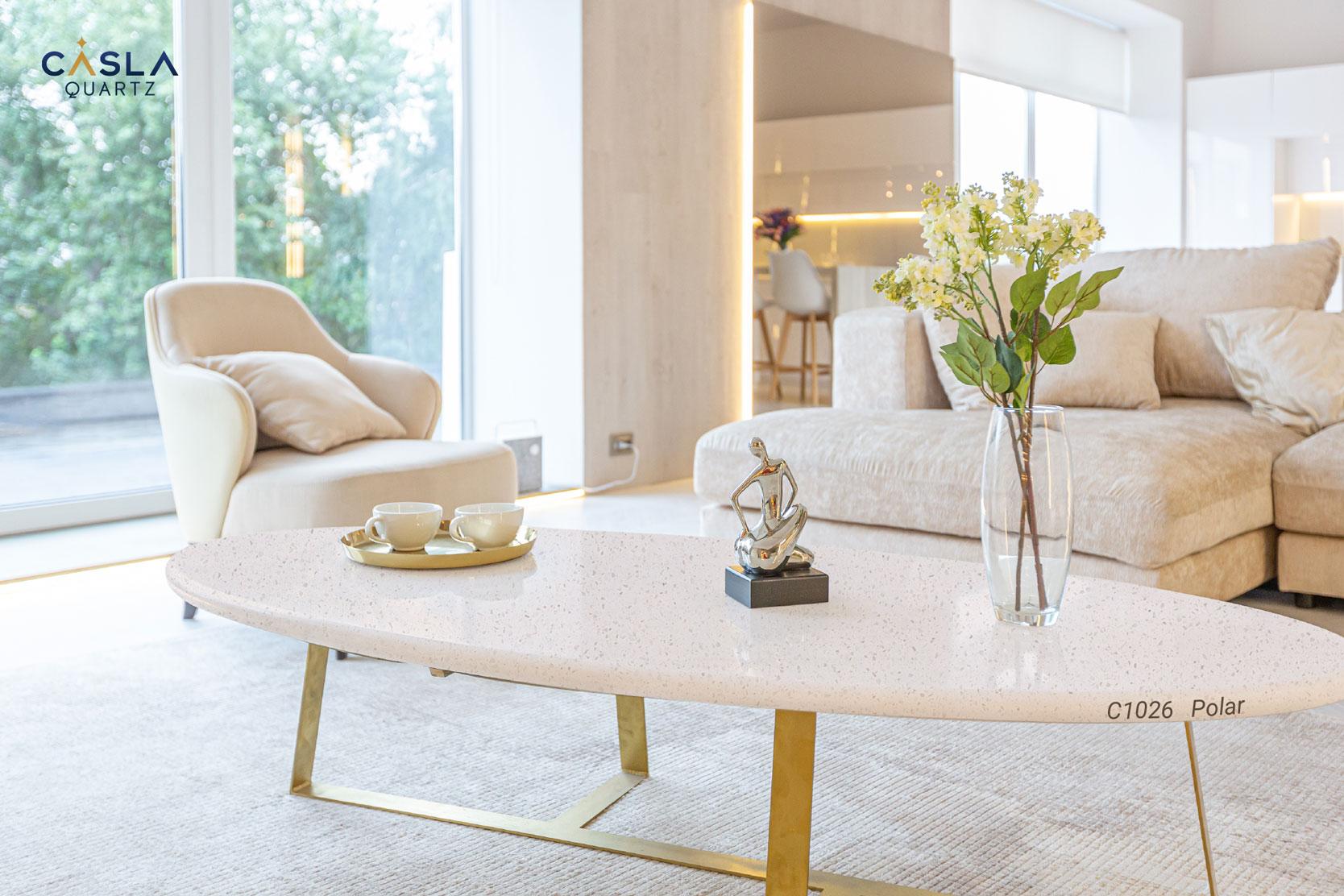 Đá thạch anh Polar làm mặt bàn trà ở phòng khách