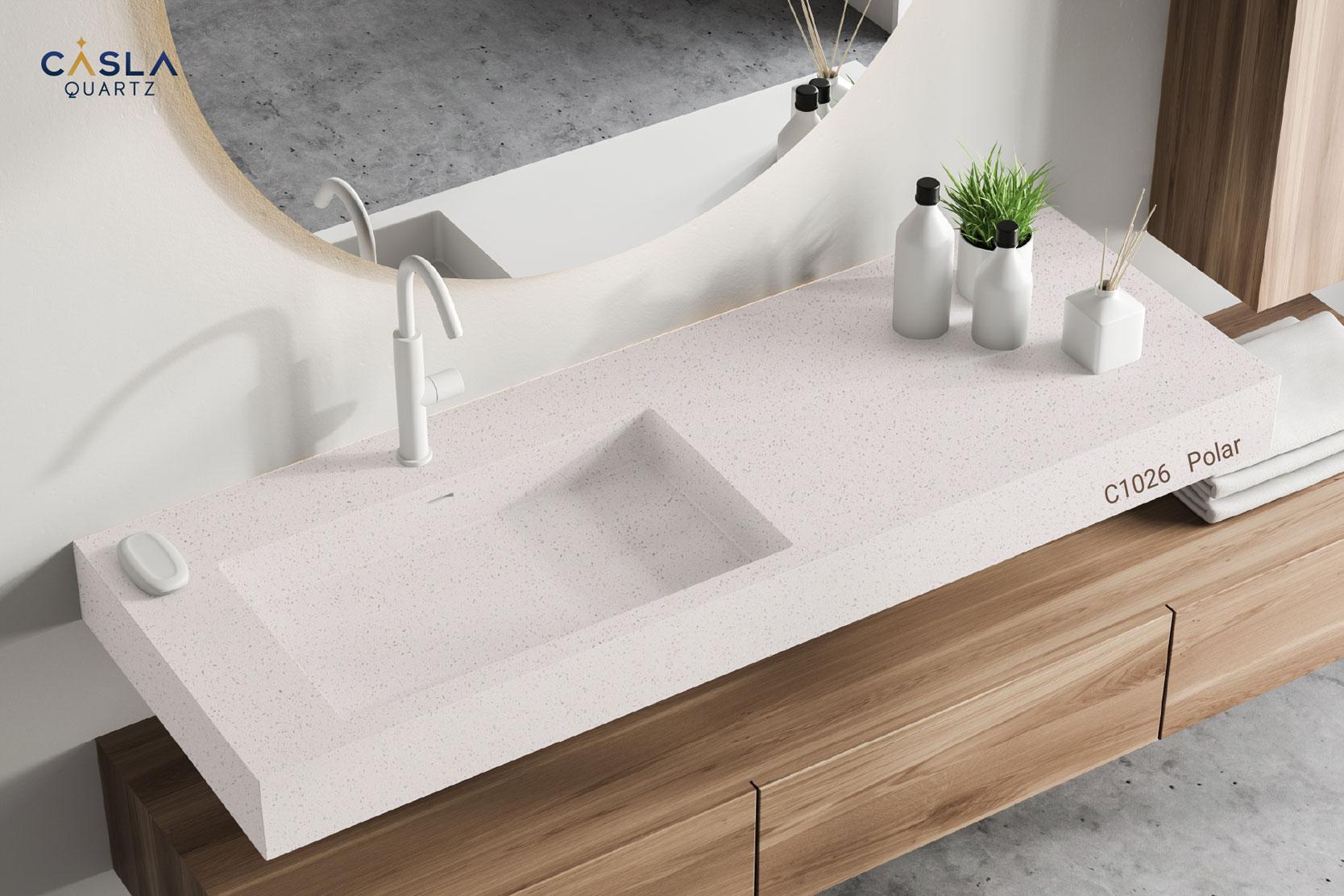 Đá nhân tạo Polar cũng có thể làm mặt chậu rửa tay ở phòng vệ sinh, phòng tắm