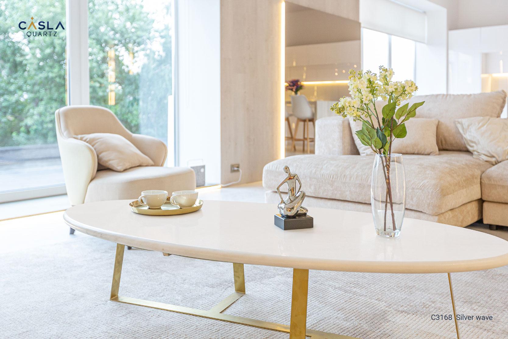 Đá nhân tạo Silver Wave làm mặt bàn trà rất tinh tế tại phòng khách