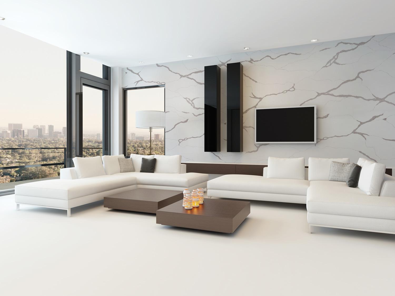 Đá thạch anh nhân tạo Calacatta Classic được ốp lát ở tường phòng khách