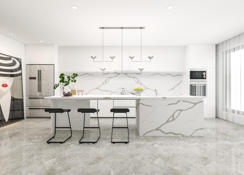 Đá thạch anh nhân tạo Calacatta Classic có thể ứng dụng ở nhiều vị trí trong nội thất