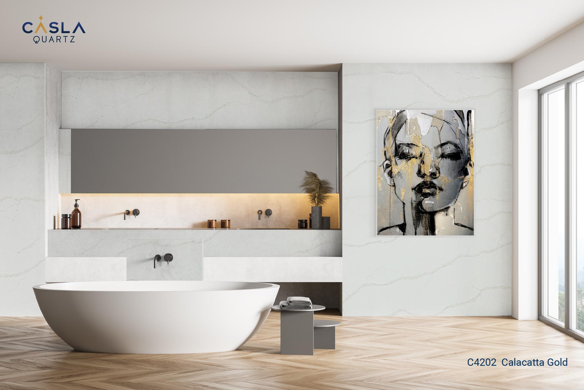Ứng dụng của đá nhân tạo Calacatta Gold trong phòng tắm - nhà vệ sinh cao cấp