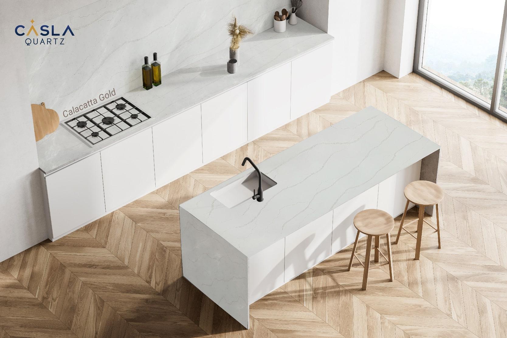 Ứng dụng đá Calacatta Gold làm mặt bàn bếp cao cấp