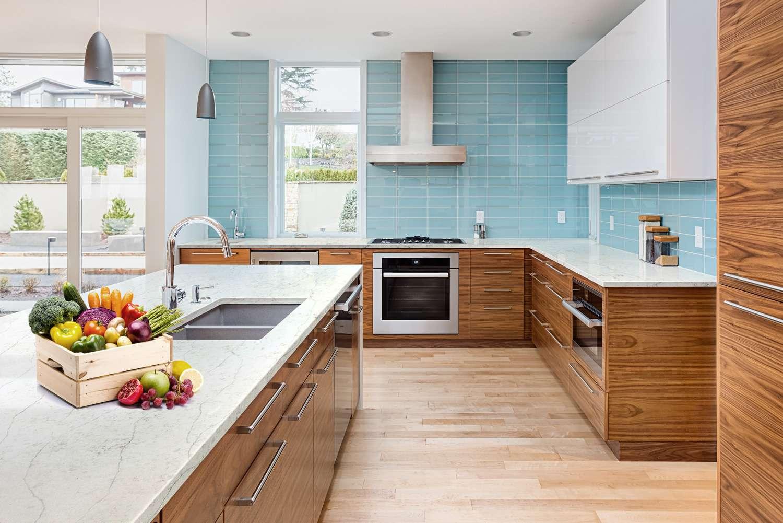 Ứng dụng của đá thạch anh nhân tạo Casla Everest như: tường bếp, tường phòng ngủ, bàn làm việc, bàn bếp....