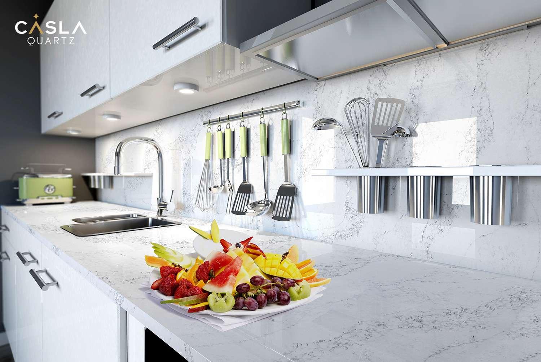 Mặt bàn bếp sử dụng đá Marina mang tới vẻ đẹp hoàn mỹ và độ an toàn kháng khuẩn cao