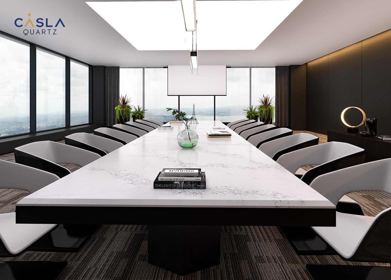 Mặt bàn phòng họp sử dụng đá thạch anh nhân tạo cao cấp Marina