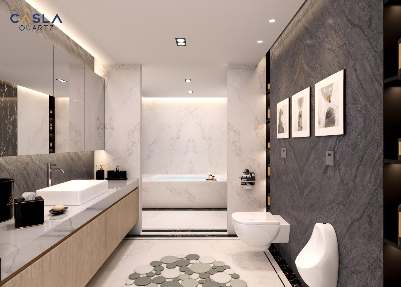 So sánh các loại đá ốp phổ biến cho phòng tắm - nhà vệ sinh