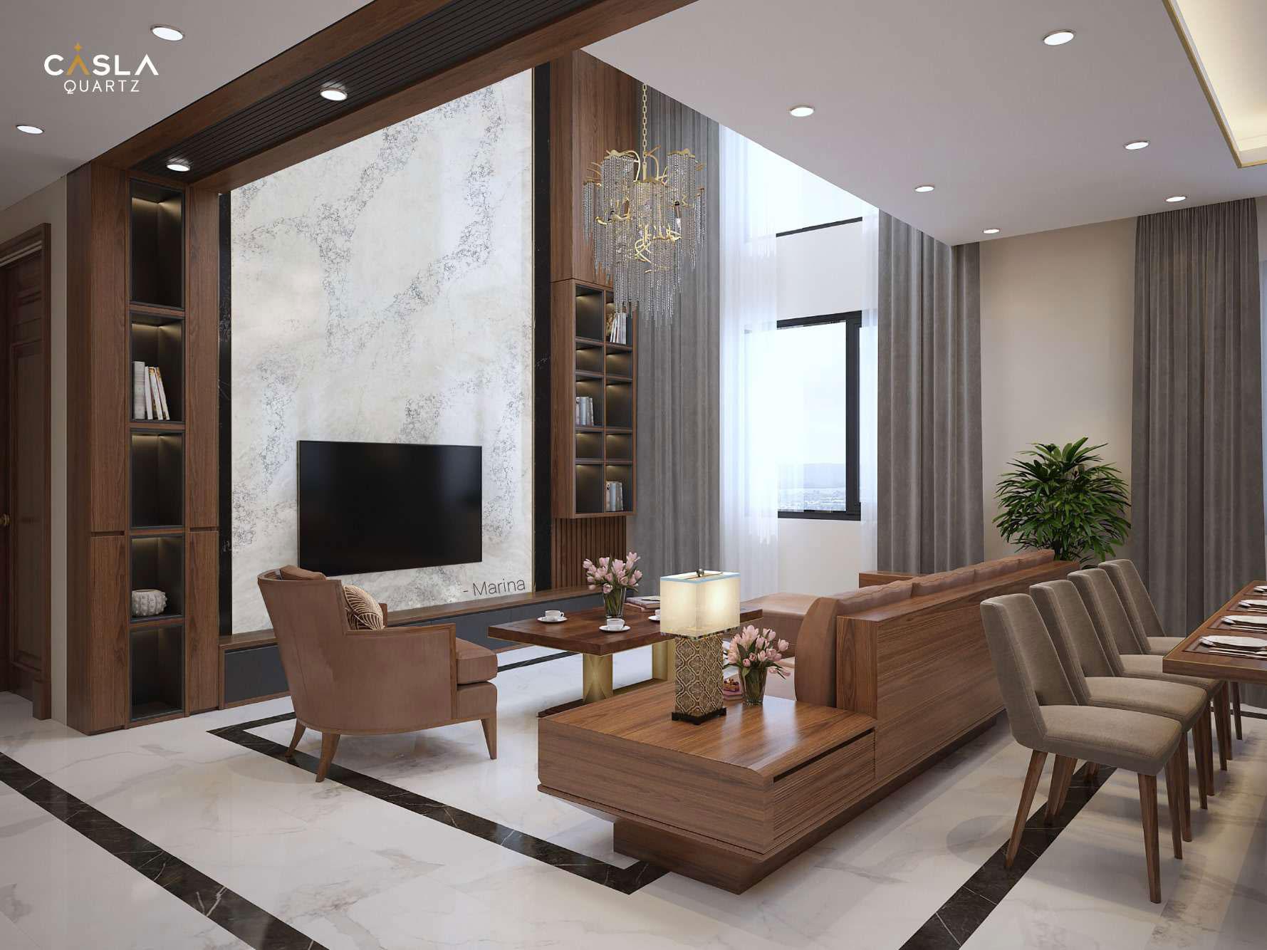 Kết hợp nội thất gỗ và ốp lát đá thạch anh nhân tạo cao cấp Caslaquartz